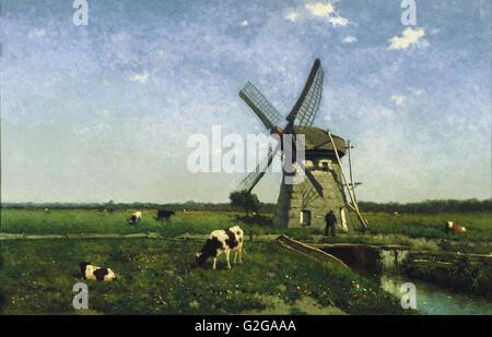 Johannes Hendrik Weissenbruch - Landscape with Windmill near Schiedam - Museum Boijmans Van Beuningen - Rotterdam - Stock Photo