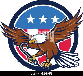 Illustration of an american bald eagle clutching towing j hook with its talon viewed from side set inside circle - Stock Photo