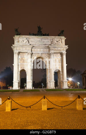 Arco della Pace, triumphal arch, Milan, Lombardy, Italy - Stock Photo