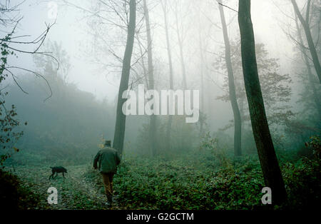 searching truffels at Serralunga d'Alba, Piedmont, Italy - Stock Photo