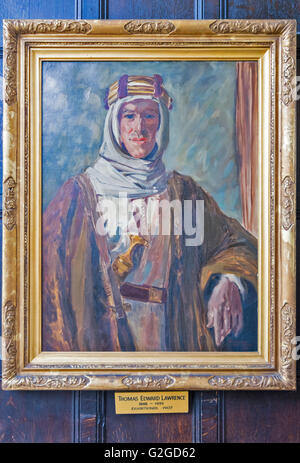 PORTRAIT OF T E LAWRENCE HANGING IN THE DINING ROOM OF JESUS COLLEGE OXFORD - Stock Photo