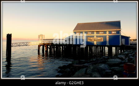 Sidney Fish market building at sunset,Vancouver Island, Canada - Stock Photo