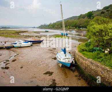 The Axe estuary at low tide from Axmouth bridge near Seaton on the south Devon coast UK - Stock Photo
