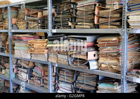 Germany, Leipzig. Documents in the archive of the former secret police headquarters STASI, now BStU Federal Commissioner - Stock Photo