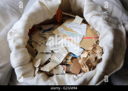 Germany, Leipzig. Bag filled with documents shredded by the STASI secret police in the archive of the former secret - Stock Photo