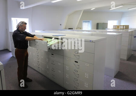 Germany, Leipzig. Documents in the archive of the former secret police headquarters, now BStU Federal Commissioner - Stock Photo