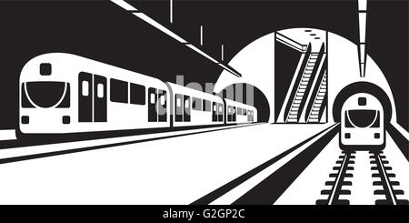 Platform of subway station with trains - vector illustration - Stock Photo