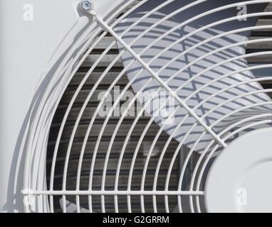 part of white air conditioner fan unit ,compressor - Stock Photo