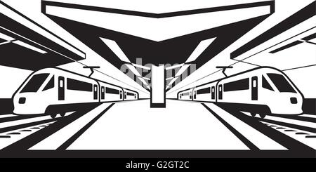 High-speed rail trains in perspective - vector illustration - Stock Photo