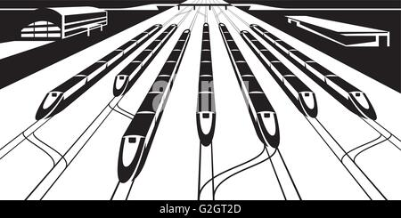 Platform of railway station with trains - vector illustration - Stock Photo