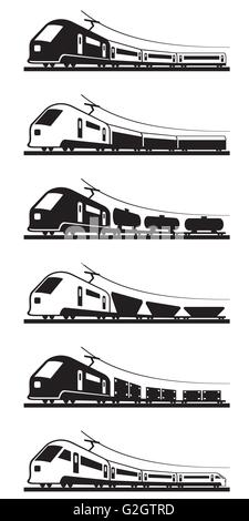 Passenger and freight trains - vector illustration - Stock Photo