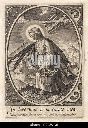 Christ child carries the passion equipment, Hieronymus Wierix, 1563 - before 1619 - Stock Photo