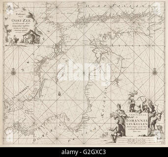 Sea chart of the Baltic Sea from Rostock to Vyborg, Jan Luyken, Johannes van Keulen (I), unknown, 1681 - 1799 - Stock Photo