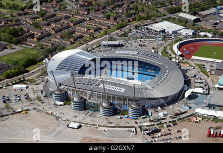 aerial view of Manchester City Football Academy, Etihad Stadium & Manchester Regional Centre, UK - Stock Photo