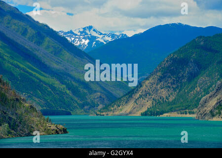Seton Lake and mountains (Chilcotin Ranges).  Interior Plateau.  Lillooet British Columbia Canada - Stock Photo