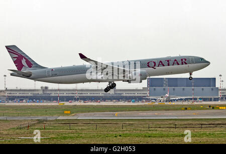 Qatar Airways Airbus A330 Photographed at Malpensa airport, Milan, Italy - Stock Photo