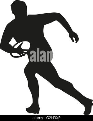 Rugby player running with ball - Stock Photo