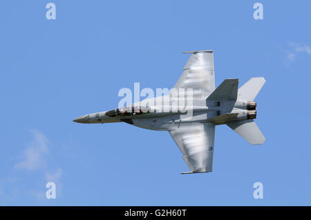 A U.S.A.  Navy F/A-18E/F Super Hornet performs at an airshow in Missouri USA - Stock Photo
