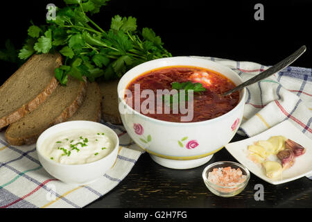 Traditional slavic soup with beet, cabbage - Stock Photo