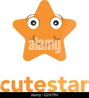 star shape business vector logo icon with face - Stock Photo
