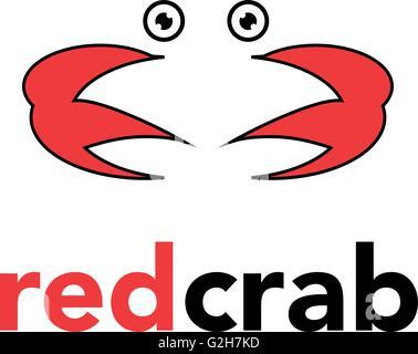 Sea Food Logo red crab Template Design Vector - Stock Photo