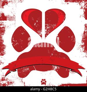 Doggy Love Paw Insignia A dog paw print with a heart in the top part of the paw. - Stock Photo