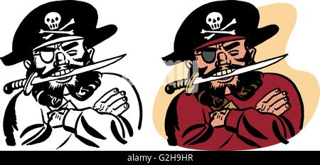 A pirate with a knife in his teeth - Stock Photo