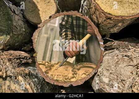 Part of woodpile and Woodworker at work painted on texture - Stock Photo
