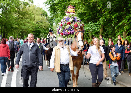 Castleton, Derbyshire, UK. 30th May, 2016. Ancient Garland Ceremony though the streets of Castleton in the Peak - Stock Photo