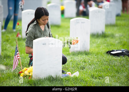 Arlington National Cemetery, Virginia, USA. 30th May, 2016. Audrey Hsieh visits the gravesite of U.S. Marine Corps - Stock Photo
