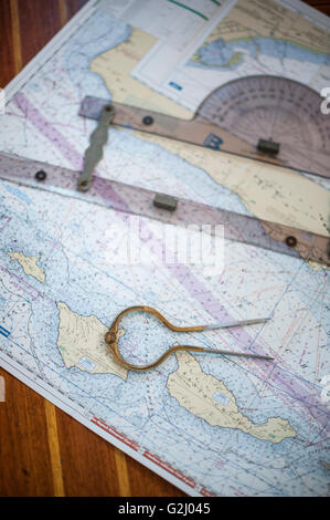 Nautical Chart with Tools - Stock Photo