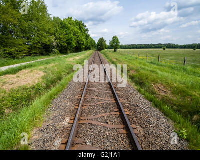 Railroad tracks of the OHE, Osthannoversche Eisenbahnen railway network, Lachtehausen, Celle, Lower Saxony, Germany, - Stock Photo