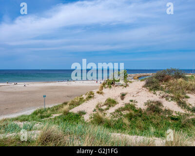 The beach at the popular summer resort Hornbaek in North Zealand, Denmark, Scandinavia, Europe - Stock Photo