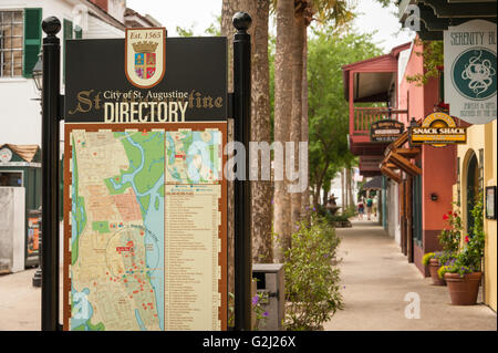 St. Augustine directory sign on St. George Street in America's oldest city. - Stock Photo