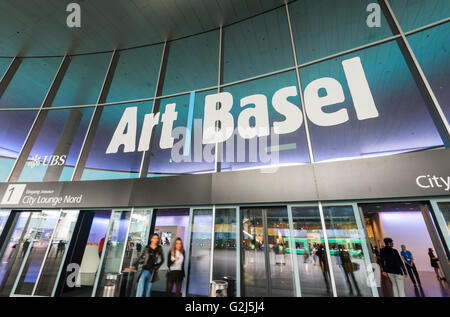 Basel, Switzerland - June 17, 2014: Entry to the Basel exhibition centre 'Messe Basel' in Basel, Switzerland, where - Stock Photo