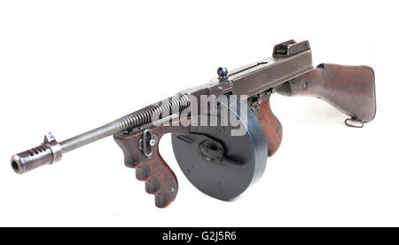 old  submashine gun isolated on white background - Stock Photo