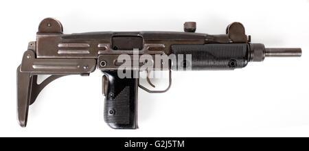 Uzi submachine gun isolated on white background - Stock Photo