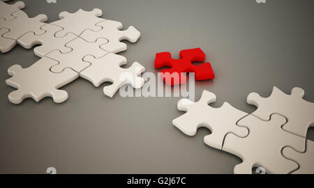 Red puzzle part standing between white puzzle parts. 3D illustration. - Stock Photo