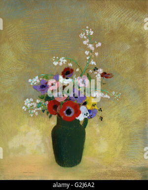 Odilon Redon - Large Green Vase with Mixed Flowers - Museum of Fine Arts, Boston - Stock Photo