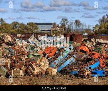 Scrap metal recycling pile, Thunder Bay, Ontario, Canada. - Stock Photo