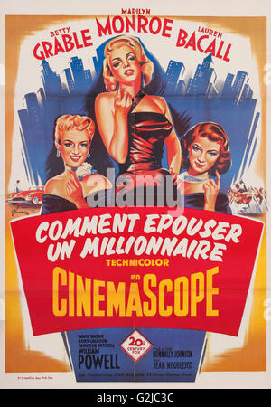 Old French Film Poster for Comment Epouser un Millionnaire - How to Marry a Millionaire. - Stock Photo