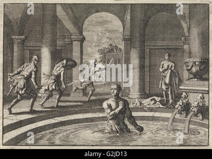 Armed enemies flee when they see Herod in bath after his victory over the army of Antigonus, Jan Luyken, Pieter - Stock Photo