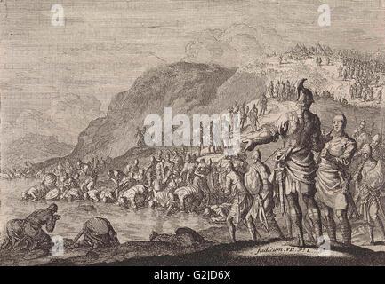 Gideon orders his men to drink water, Jan Luyken, Pieter Mortier, 1703 - 1762 - Stock Photo