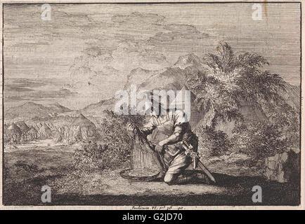 Gideon and the wet sheepskin, Jan Luyken, Pieter Mortier, 1703 - 1762 - Stock Photo