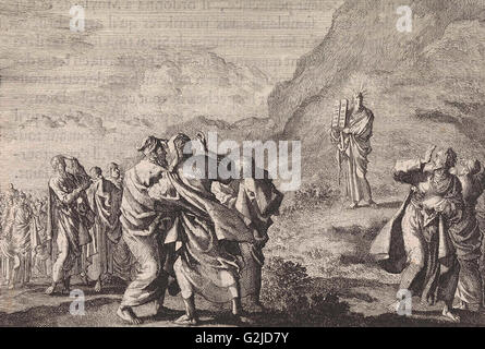 Moses received the law tables and displays them to the people, Jan Luyken, Pieter Mortier, 1703-1762 - Stock Photo