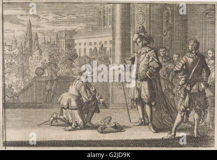 Charles IV, Duke of Lorraine kneels for Louis XIII, 1641, Johann David Zunnern, 1701 - Stock Photo