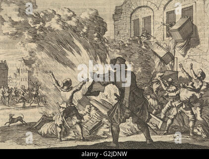Tollbooth in Lyon is plundered as a result of increased excise duties, 1625, Caspar Luyken, Pieter van der Aa (I), - Stock Photo