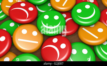 Business quality service customer feedback, rating and survey with happy smiling face emoticon symbol and icon on - Stock Photo