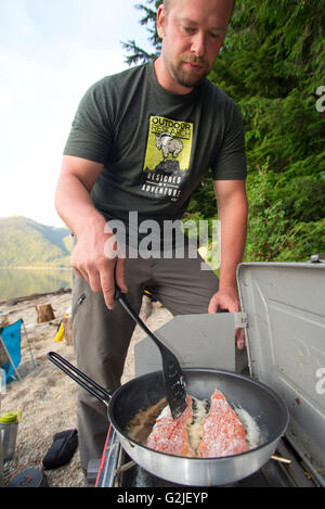 Canoeing and camping on the north arm of Murtle Lake. Wells Gray Provincial Park. Blue River, British Columbia. - Stock Photo