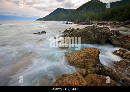 Rugged coastline wave action along West Coast Cape Palmerston Northern Vancouver Island Vancouver Island British - Stock Photo